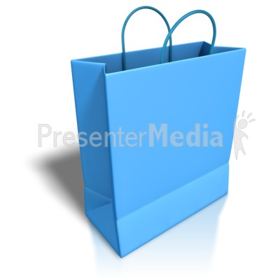 Empty Blue Shopping Bag Presentation clipart