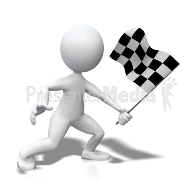 Stick Figure Waving Checkered Flag Presentation clipart