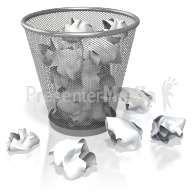 Garbage Can Filled with Paper Presentation clipart