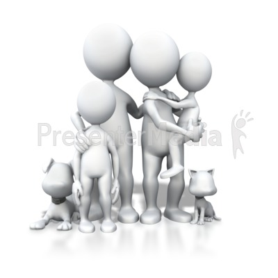 Stick Figure Family Pets Portrait Presentation clipart