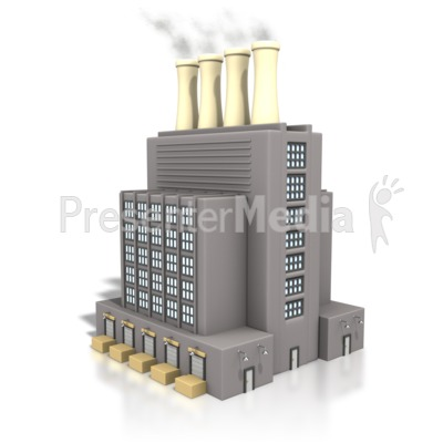 Factory Building Smoke Stack Presentation clipart
