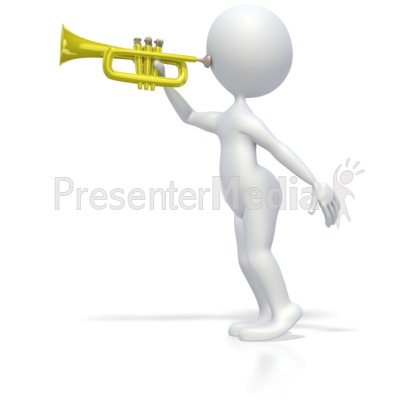 Stick Figure Playing Trumpet Presentation clipart
