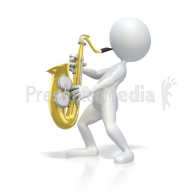 Stick Figure Playing Saxophone Presentation clipart
