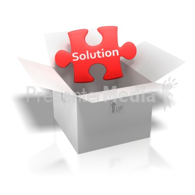 Solution Puzzle Piece Box Presentation clipart