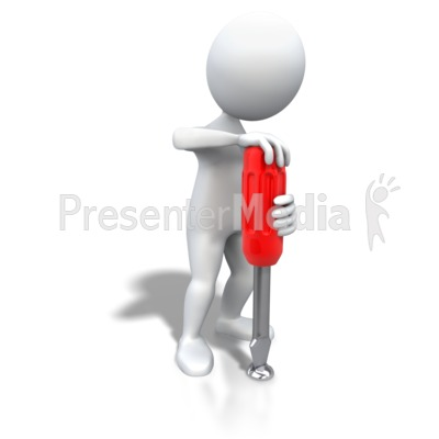 Stick Figure Turning Screwdriver Presentation clipart