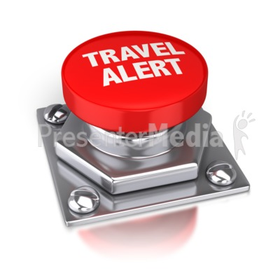 Travel Alert Red Button Presentation clipart