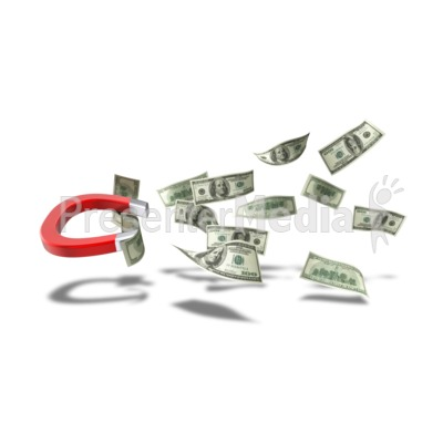 Horseshoe Magnet Pulling Dollar Bills Presentation clipart