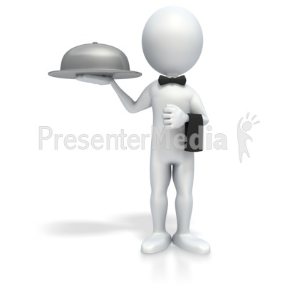 Stick Figure Waiter Presentation clipart