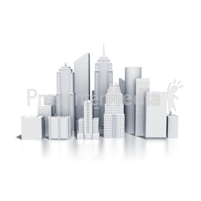 City Downtown Buildings Monotone Presentation clipart