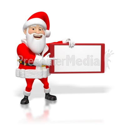Santa Pointing at Small Blank Sign Presentation clipart