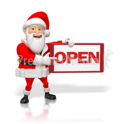 Santa Pointing at an Open Sign Presentation clipart