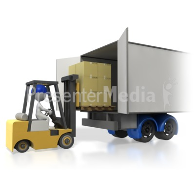 Forklift Loading Truck Trailer Presentation clipart
