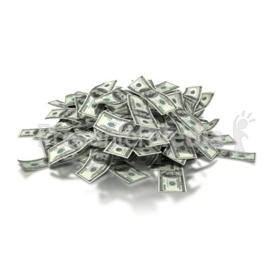 Large Pile of Money - Dollar Bills Presentation clipart