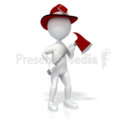 Stick Figure Firefighter Presentation clipart