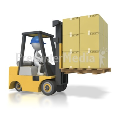 Stick Figure Driving Forklift with Boxes Presentation clipart