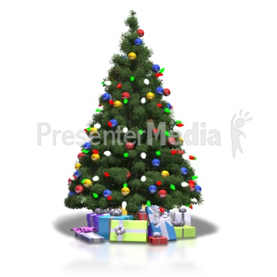 Christmas Tree Shiny Lights Presentation clipart