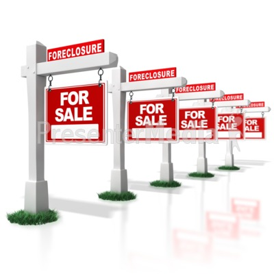 Multiple Real Estate Foreclosure Signs i Presentation clipart