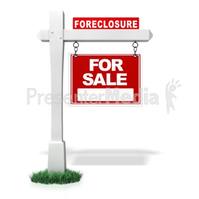 Single Real Estate Bank Foreclosure Sign Presentation clipart