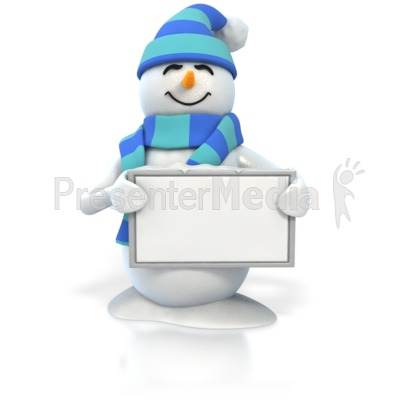 Winter Snowman Holding Blank Sign Presentation clipart