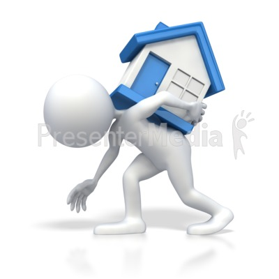 Stick Figure Carrying Heavy House on Bac Presentation clipart