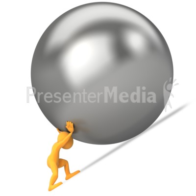 Pushing Ball Uphill Presentation clipart