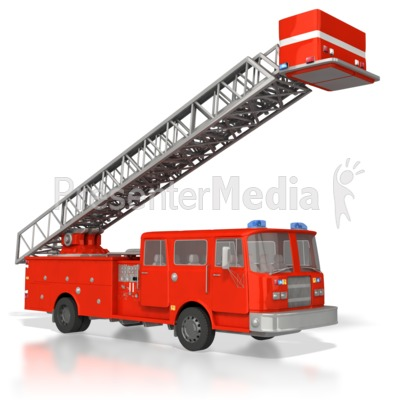 Emergency Fire Truck Raised Ladder Presentation clipart
