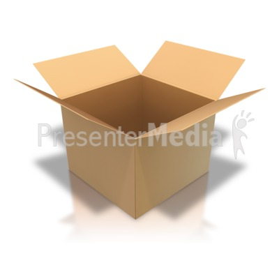 Brown Cardboard Box Open Angle Presentation clipart
