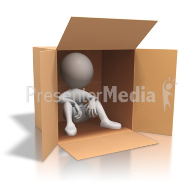 Stick Figure Cardboard Box Homeless Presentation clipart