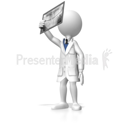Stick Figure Dentist Looking At Xray Presentation clipart