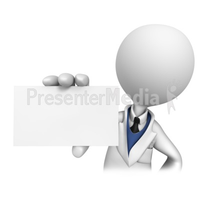 Stick Figure Dentist Holding Blank Card  Presentation clipart