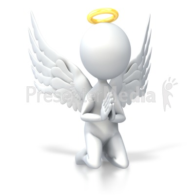 Angel Pray on Knees Presentation clipart