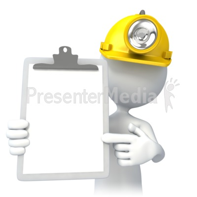 Miner With Clipboard Presentation clipart