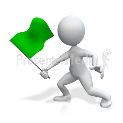 Figure Holding Green Flag Presentation clipart
