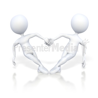 Stick Figures Hold Hand in Heart Shape Presentation clipart