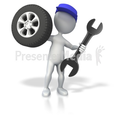 Mechanic with Tire and Wrench Presentation clipart