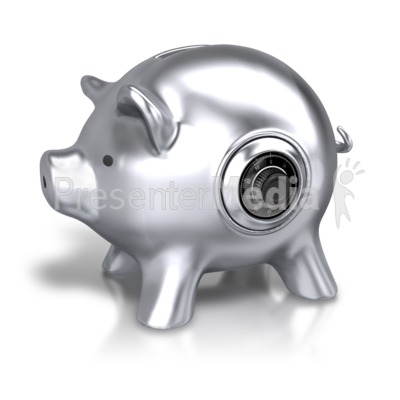 Silver Piggy Bank Lock Presentation clipart