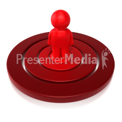 Little Stick Figure On Bullseye  Presentation clipart