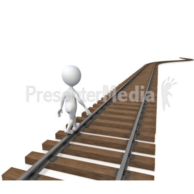 Stick Figure Walking On Tracks  Presentation clipart