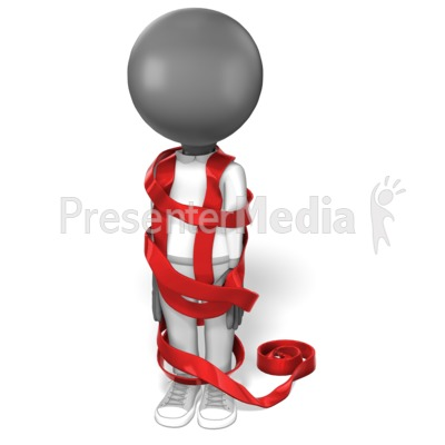 Stick Figure Wrapped in Red Tape Presentation clipart