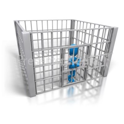 Stick Figure In Jail Cell Presentation clipart