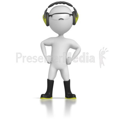 Stick Figure Wearing Safety Gear Presentation clipart