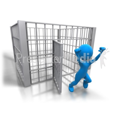 Stick Figure Released Jail Presentation clipart