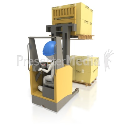 Reach Truck Stacking Pallet of Boxes Presentation clipart