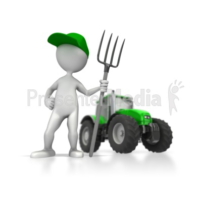 Farmer With Tractor Presentation clipart