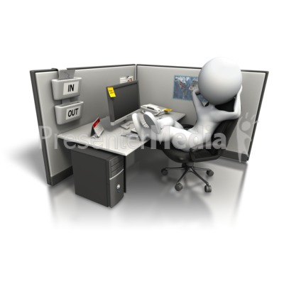 Relaxing In Office Cubicle Presentation clipart
