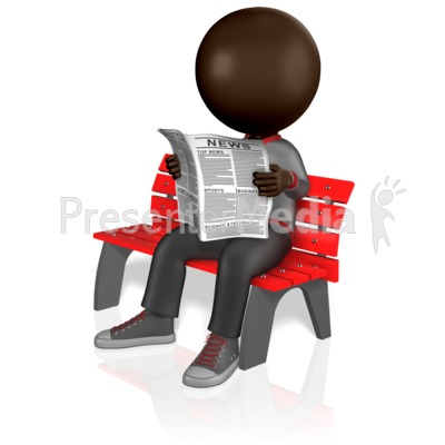 Stick Figure Reading Newspaper Presentation clipart