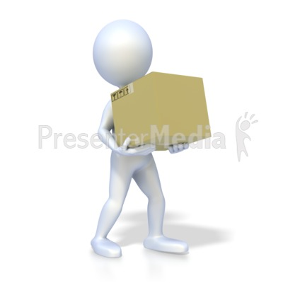 Stick Figure Carrying Box Presentation clipart