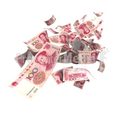 Chinese Yuan Falling Presentation clipart