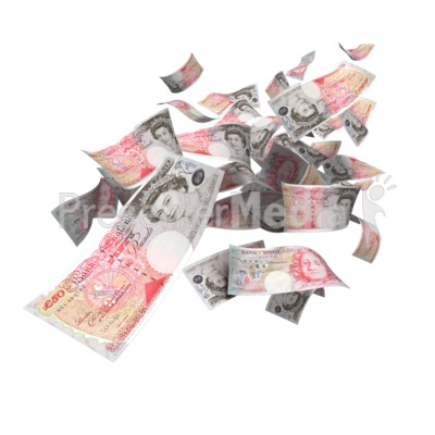 British Pounds Falling Presentation clipart