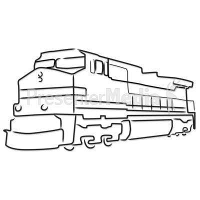 Train Engine Outline Presentation clipart